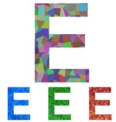 Mosaic font design - letter e vector