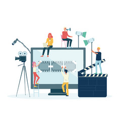 Movie films and video production crew people flat vector
