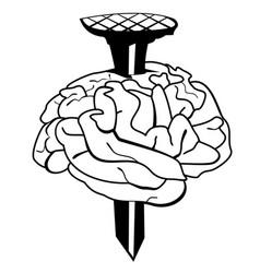 Nail pierces the brain concept vector