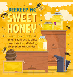 natural honey sweet food with bees and hive vector image
