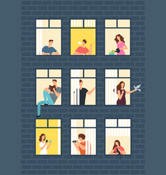 Neighbors cartoon people in apartment house vector