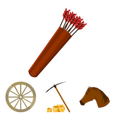 pickax hoe horse head wheel cart quiver with vector image