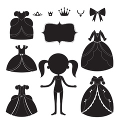 Princess dress silhouettes set Cartoon black and vector image vector image