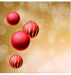red glitter christmas balls on beige background vector image