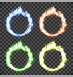 Ring on fire set of circle flame patterns vector