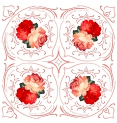 Roses wedding wreath card vector