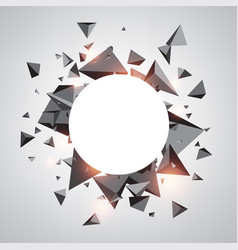 Round background with gray 3d trigons vector