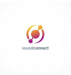 round connect technology logo vector image