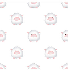 seamless pattern with lambs cute animal backdrop vector image