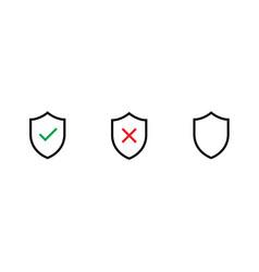 Set logo shield with permission prohibition vector
