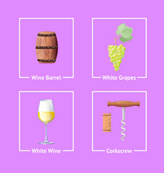 Set of bordeaux festival icons wine wooden barrel vector