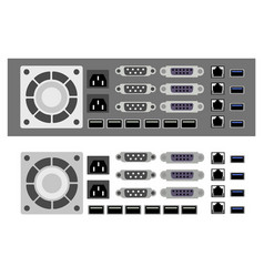 Set of computer parts vector