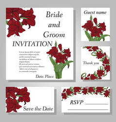 Set of handpainted flower wedding invitation card vector