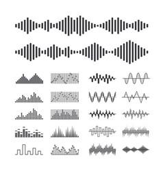 set of music sound waves audio digital equalizer vector image