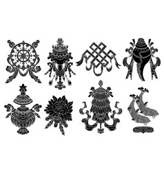 set with eight black silhouettes buddhism vector image
