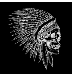 skull of indian chief in hand drawing style vector image