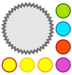 starburst sunburst badge shape in 8 color w blank vector image