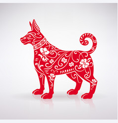 stylized red dog vector image