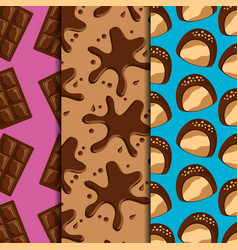 sweets dessert food chocolate bars and splash vector image
