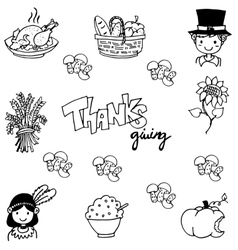 Thanksgiving doodle art vector