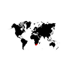 the map south africa is highlighted in red on vector image