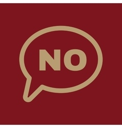 The NO speech bubble icon No symbol Flat vector
