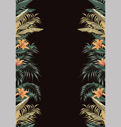 tropical border a4 layout black background vector image