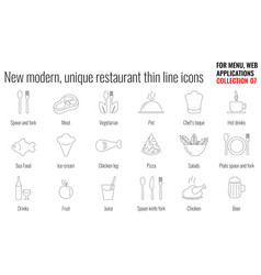 unique and modern restaurant line icon set vector image