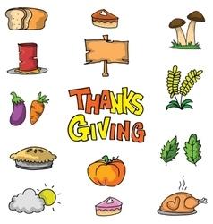Vegetable set thanksgiving on doodles vector