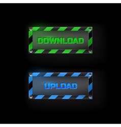 Web buttons download and upload vector image