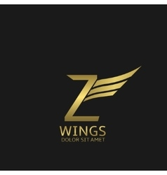Wings Z letter logo vector