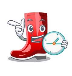 With clock single of boots isolated on mascot vector
