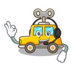 With headphone clockwork toy car isolated on vector