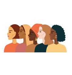 Women different nationalities border white vector