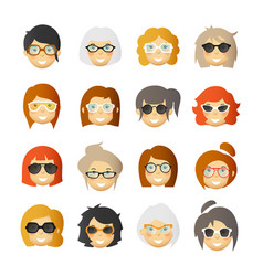 Women with rosy cheeks in glasses and sunglasses vector