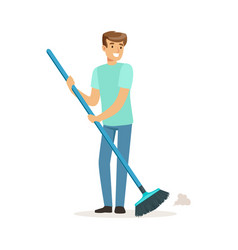 Young smiling man sweeping the floor house vector