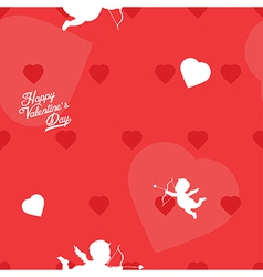 Bright red Valentine s Day seamless background vector image