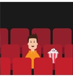 Cartoon boy sitting in movie theater film show vector