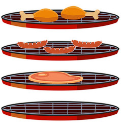 colorful cartoon bbq cooking set vector image