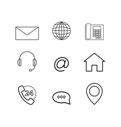 contacts set online icons vector image vector image