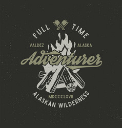 full time adventurer vintage label with textured vector image vector image