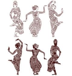 Indian dancers set vector