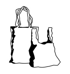 Plastic shopping bag market handle retail icon vector