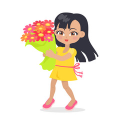 smiling girl with colourful bouquet of flowers vector image vector image