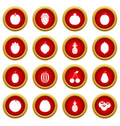 fruit icon red circle set vector image