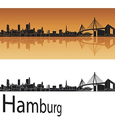 Hamburg skyline in orange background vector image