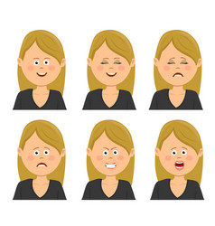 set of young blonde woman with different emotions vector image