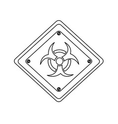 silhouette metal biohazard warning sign icon vector image