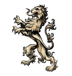 Heraldry lion drawn in engraving style vector image vector image