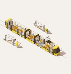 isometric low poly low-floor tram vector image